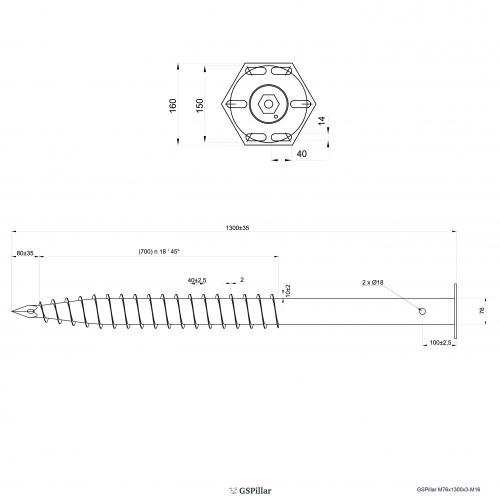 GS Pillar ⌀ 76 - 1300 mm - M profils - Technical drawing - groundscrews.shop