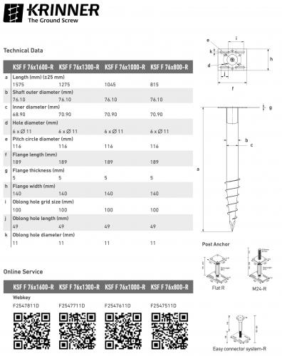 KRINNER ⌀ 76 - 1000 mm -  - Technical drawing - groundscrews.shop