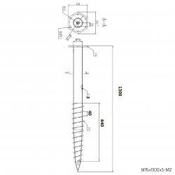 ⌀ 76 - 1300 mm - M profile - Technical drawing - groundscrews.shop