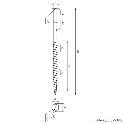 GS Pillar ⌀ 76 - 3000 mm - M profils - Technical drawing - groundscrews.shop