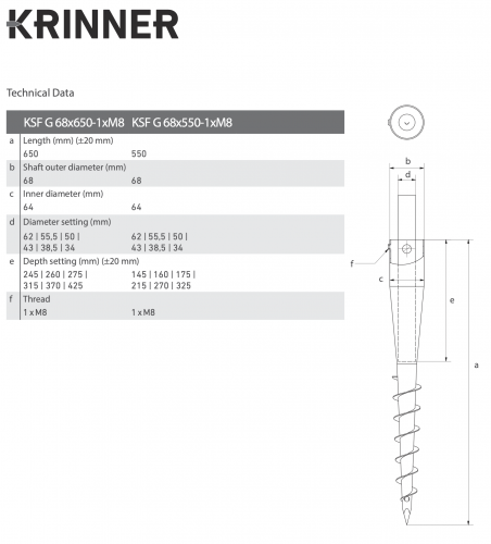 KRINNER ⌀ 68 - 650 mm - G profile - Technical drawing - groundscrews.shop