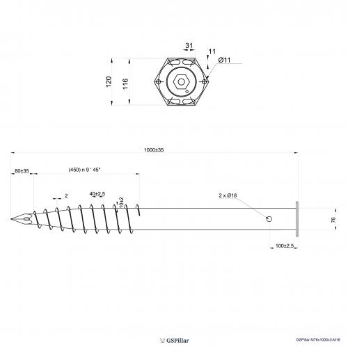 GS Pillar ⌀ 76 - 1000 mm - M profils - Technical drawing - groundscrews.shop