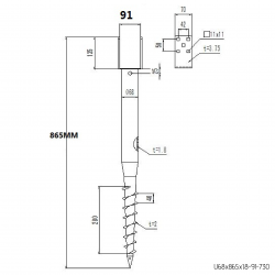 ⌀ 68 - 865 mm - U profile - Technical drawing - groundscrews.shop