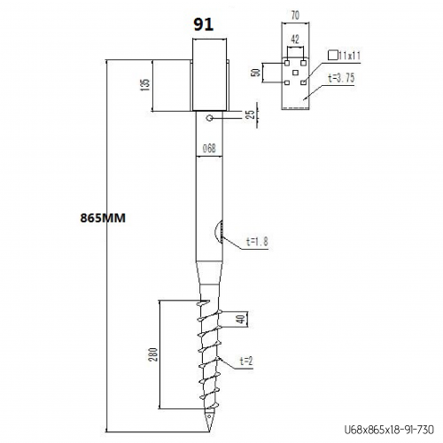 GS Pillar ⌀ 68 - 865 mm - U profils - Technical drawing - groundscrews.shop