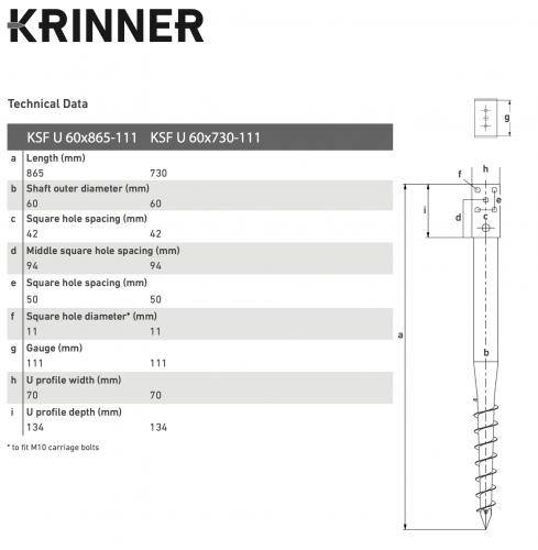 KRINNER ⌀ 60 - 865 mm - U profils - Technical drawing - groundscrews.shop