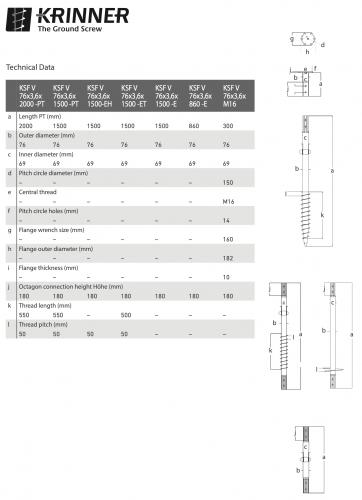 KRINNER ⌀ 76 - 3,6 mm - V profile - Technical drawing - groundscrews.shop