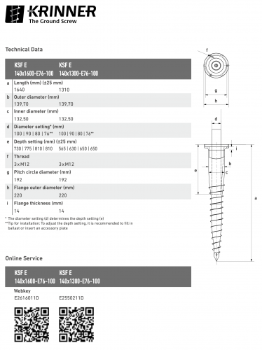 KRINNER ⌀ 140 - 1300 mm -  - Technical drawing - groundscrews.shop