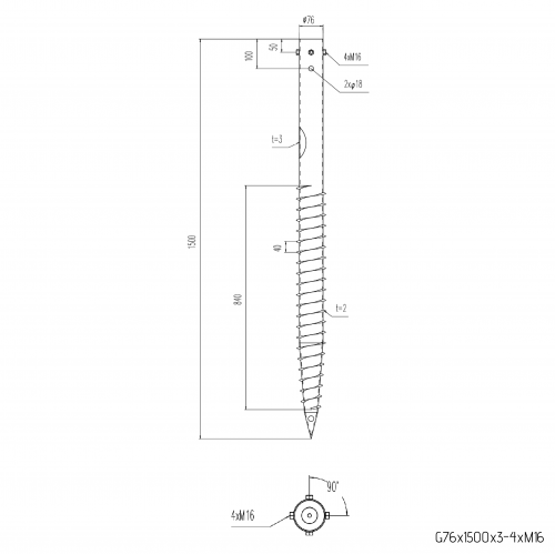 ⌀ 76 - 1500 mm - G profile - Technical drawing - groundscrews.shop