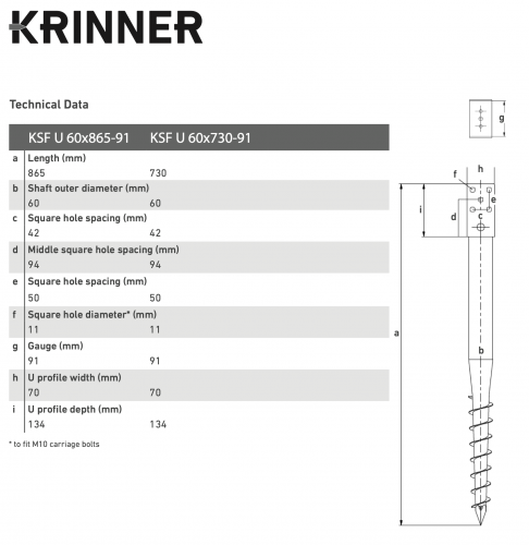 KRINNER ⌀ 60 - 865 mm - U profile - Technical drawing - groundscrews.shop