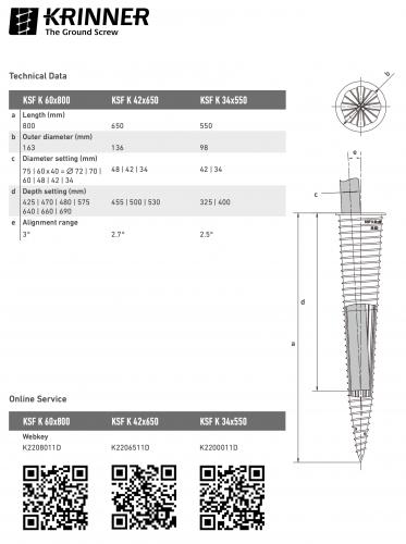 KRINNER ⌀ 42 - 650 mm -  - Technical drawing - groundscrews.shop