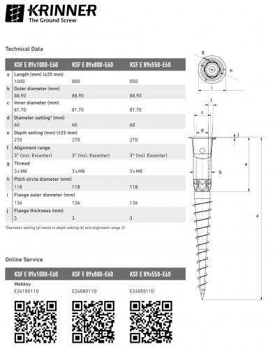 KRINNER ⌀ 89 - 1000 mm -  - Technical drawing - groundscrews.shop