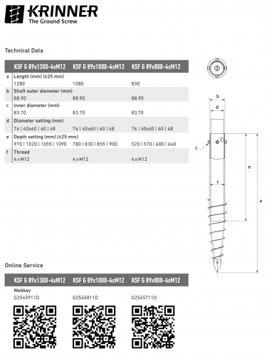 KRINNER ⌀ 89 - 1300 mm - G profile - Technical drawing - groundscrews.shop