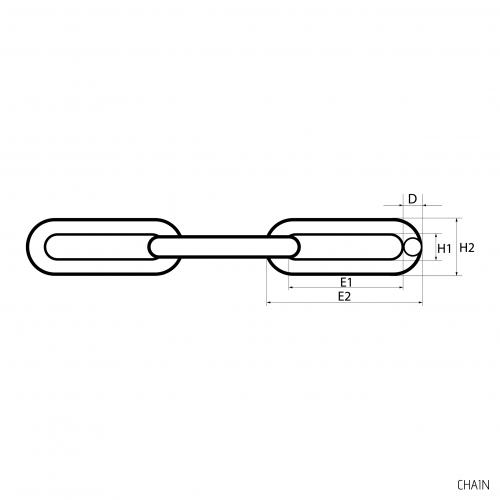 Ķēde D13 - Ķēdes & Skavas - Technical drawing - groundscrews.shop