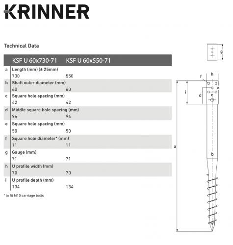 KRINNER ⌀ 60 - 730 mm - U profils - Technical drawing - groundscrews.shop