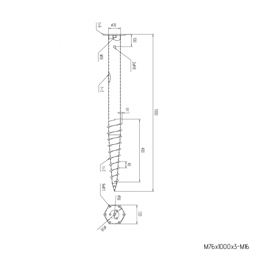 GS Pillar ⌀ 76 - 1000 mm - M profile - Technical drawing - groundscrews.shop