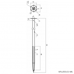 ⌀ 76 - 2100 mm - M profile - Technical drawing - groundscrews.shop