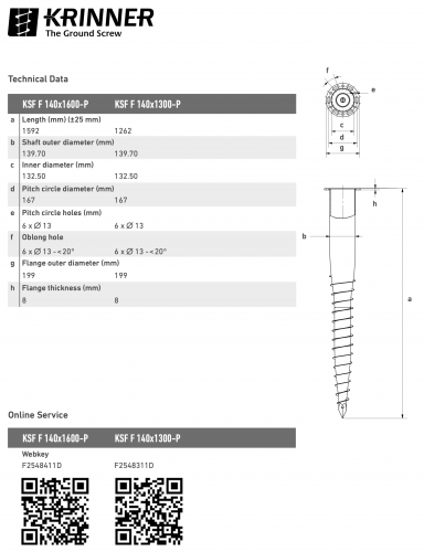 KRINNER ⌀ 140 - 1300 mm -  - Technical drawing - groundscrews.shop