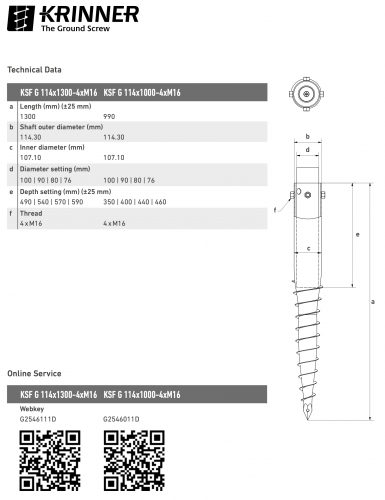 KRINNER ⌀ 114 - 1300 mm - G profile - Technical drawing - groundscrews.shop