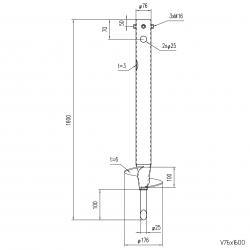 ⌀ 76 - 1600 mm - V profile - Technical drawing - groundscrews.shop