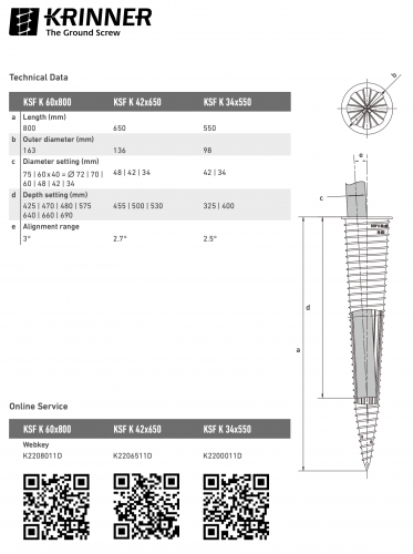 KRINNER ⌀ 34 - 550 mm -  - Technical drawing - groundscrews.shop
