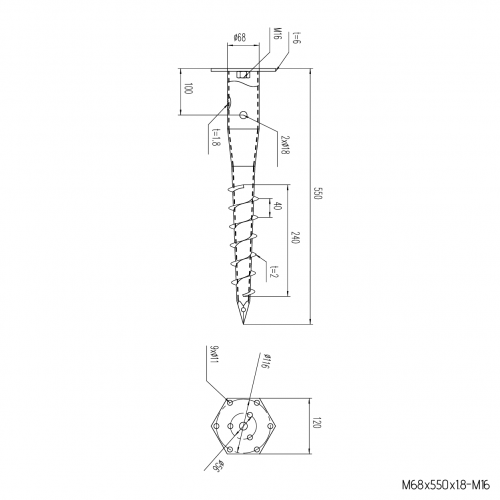 GS Pillar ⌀ 68 - 550 mm - M profile - Technical drawing - groundscrews.shop