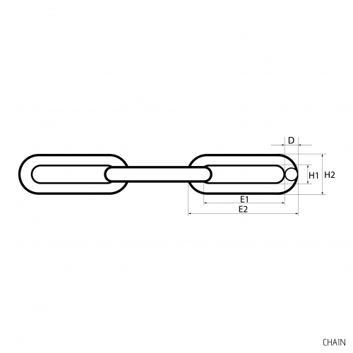 Ķēde D16 - Ķēdes & Skavas - Technical drawing - groundscrews.shop