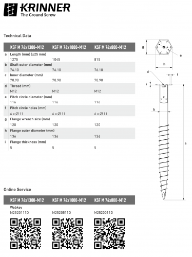 KRINNER ⌀ 76 - 800 mm - M profile - Technical drawing - groundscrews.shop