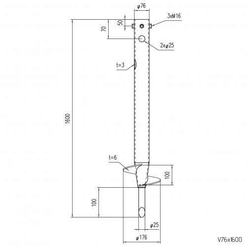 GS Pillar ⌀ 76 - 1600 mm - V profile - Technical drawing - groundscrews.shop