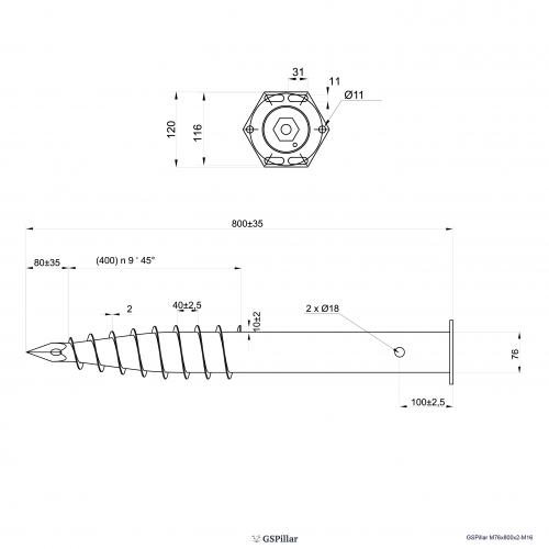 GS Pillar ⌀ 76 - 800 mm - M profils - Technical drawing - groundscrews.shop