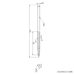 ⌀ 76 - 2100 mm - G profile - Technical drawing - groundscrews.shop