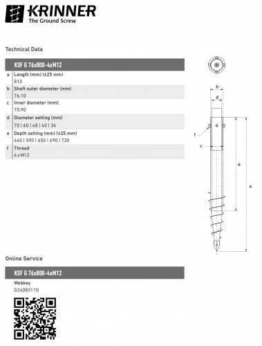 KRINNER ⌀ 76 - 800 mm - G profile - Technical drawing - groundscrews.shop