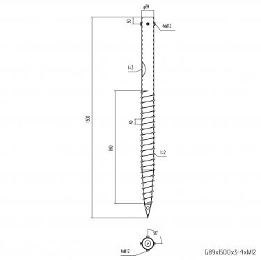 Groundscrew product technical image — Groundscrews.shop - buy screw piles online