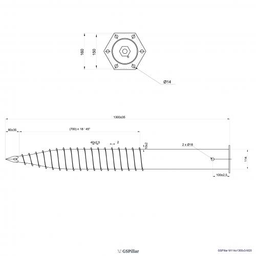 GS Pillar ⌀ 114 - 1300 mm - M profils - Technical drawing - groundscrews.shop