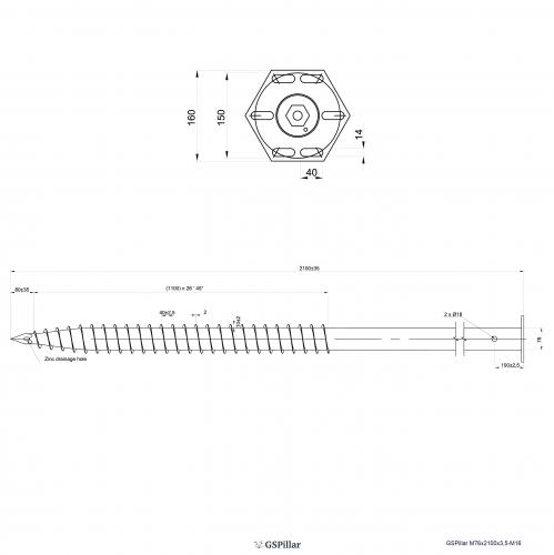 GS Pillar ⌀ 76 - 2100 mm - M profils - Technical drawing - groundscrews.shop