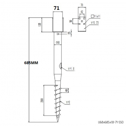⌀ 68 - 685 mm - U profile - Technical drawing - groundscrews.shop
